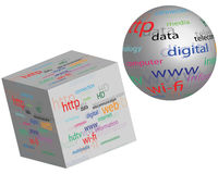 Sphere and a cube with different words 23.04.13 Stock Photos