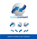 Sphere 3d arrow logo icon design set Royalty Free Stock Image