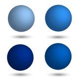 sphere 3d Uppsättning av realistiska bollar av olika skuggor av blått Royaltyfria Foton