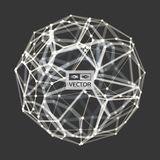 Sphere. 3d vector wireframe object. Illustration with connected lines and dots. Abstract grid design. Connection structure. Technology style Royalty Free Stock Photography