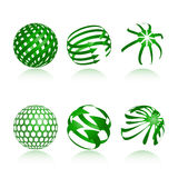 Sphere Design Elements. Collection of abstract green globe icons and symbols Royalty Free Stock Photo