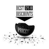 Sphere destroyed 3D best discounts, Black Friday Sale Royalty Free Stock Photography
