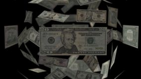 Sphere of Dollar Bills. US Bank notes 1, 5, 10, 20, 50, 100. Stock footage stock video footage