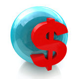 Sphere and dollar sign Royalty Free Stock Photography