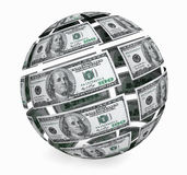 Sphere from dollars bills. Sphere from one hundred dollars bills on a white background Stock Photos
