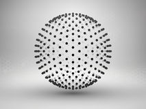 Sphere with dots. Halftone. Connection concept. Technology background. Royalty Free Stock Photo