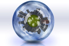 Sphere enclosed green city planet. High Resolution Illustration Sphere enclosed green city planet stock illustration