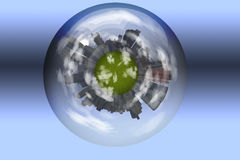 Sphere enclosed green city planet. This image created in entirety by me and is entirely owned by me and is entirely legal for me to sell and distribute stock illustration