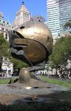 The Sphere and the Eternal Flame in memory of the tragedy of September 11, 2001. Battery Park, New York. stock images