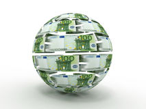 Sphere from euro. On white isolated background. 3d Royalty Free Stock Images