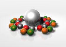 The Sphere Family Reunion. A bunsh of 3d spheres all colors Stock Image