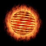 Sphere in fire, on black. The Fragmentation sphere in fire, on black Stock Photos