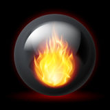 Sphere with fire flames. Black sphere with fire flames inside on dark background Stock Image
