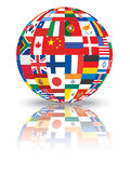 Sphere with flags. Of the world illustration Royalty Free Stock Image