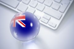 Sphere flags and computer consept. National sphere flags and computer consept Stock Images