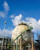Sphere gas storages. In petrochemical plant Royalty Free Stock Photography
