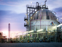 Sphere gas storages in petrochemical plant. At dawn ,sunrise Royalty Free Stock Images
