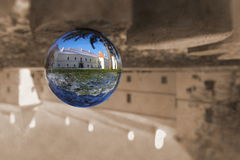 Sphere glass ball castle 3. Artistic abstract photo from old castle with sphere glass ball royalty free stock photography