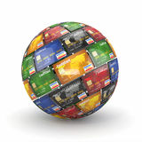 Sphere or globe from credit cards Stock Photo