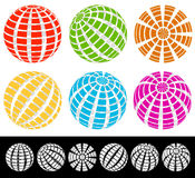 Sphere with grid of squares / Textured 3d sphere icons. Royalty free vector illustration Stock Photos