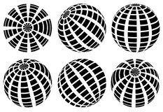 Sphere with grid of squares / Textured 3d sphere icons. Royalty free vector illustration Stock Photo