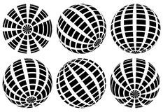 Sphere with grid of squares / Textured 3d sphere icons Stock Images