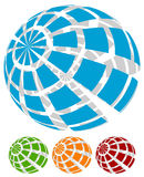 Sphere with grid of squares / Textured 3d sphere icons. Royalty free vector illustration Stock Images