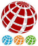 Sphere with grid of squares / Textured 3d sphere icons. Royalty free vector illustration Royalty Free Stock Photography