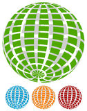 Sphere with grid of squares / Textured 3d sphere icons. Royalty free vector illustration Royalty Free Stock Images