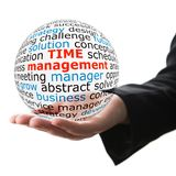 Sphere in hand with inscription time management Royalty Free Stock Photos