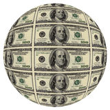 Sphere from hundred dollar. Denominations stock illustration
