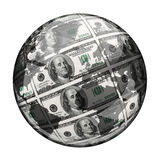 Sphere with hundred dollar banknotes over white Royalty Free Stock Image