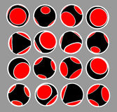 Sphere icon set in black red and white Royalty Free Stock Images