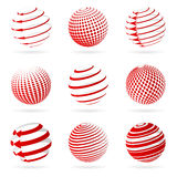 Sphere icons. A set of abstract red sphere icons Royalty Free Stock Images