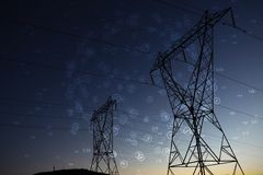 Composite image of sphere of icons. Sphere of icons against the evening electricity pylon silhouette stock illustration