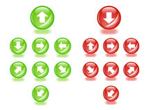 Sphere icons with arrows. Stock Photography