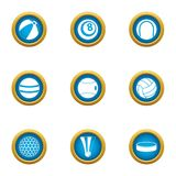 Sphere icons set, flat style. Sphere icons set. Flat set of 9 sphere vector icons for web isolated on white background royalty free illustration
