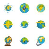 Sphere icons set, flat style. Sphere icons set. flat set of 9 sphere icons for web isolated on white background royalty free illustration
