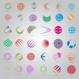Sphere Icons Set -  On Gray Background Stock Photo