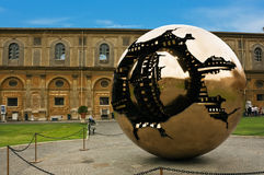 The sphere inside the sphere. In the Vatican courtyard Stock Photo