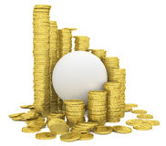 Sphere inside a stack of gold coins. Isolated render on a white background Royalty Free Stock Image