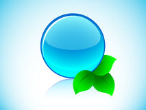 Sphere with leaves. Blue glassy sphere with leaves (isolated Stock Image
