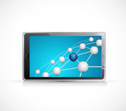 sphere link and connections network on a tablet Royalty Free Stock Images