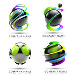 Sphere Logo. A 3D logo illustration representing a set of 4 black 3d spheres with twisted rainbow swashes around it Royalty Free Stock Photos