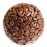 Sphere made of coffee beans over white Royalty Free Stock Images