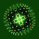 sphere made of green beer bottles isolated on emerald backround. music  event poster template. render Stock Photo