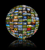 Sphere made of ninety two nature photos. Showing the beauty and diversity of life on Earth royalty free stock photo