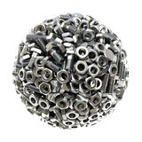 Sphere made from nuts and bolts Royalty Free Stock Photography