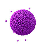 Sphere made of plastic beads, purple bubbles, 3d render, isolated on white.  Stock Photo