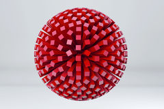 Sphere made of red cubes. 3D render image. Royalty Free Stock Image